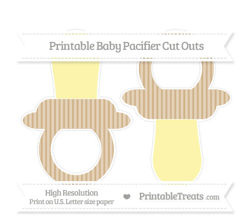 Free Tan Thin Striped Pattern Large Baby Pacifier Cut Outs