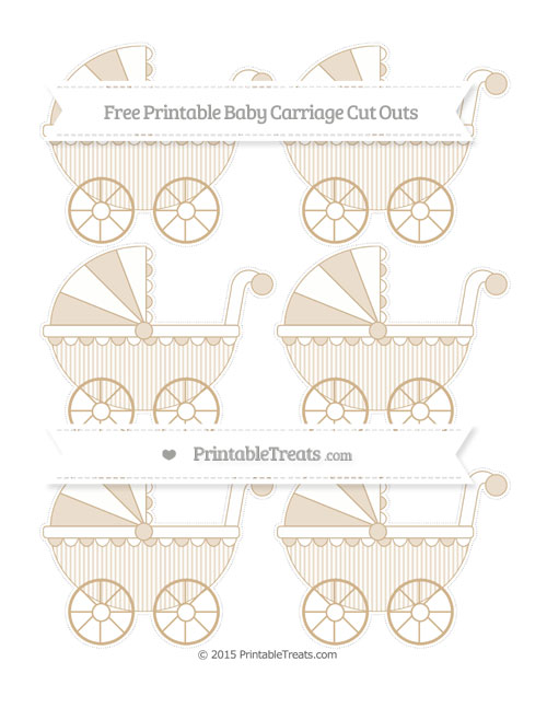 Free Tan Thin Striped Pattern Small Baby Carriage Cut Outs