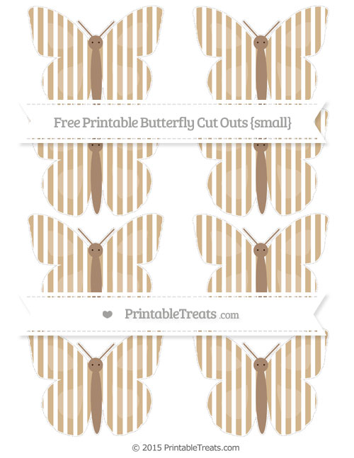 Free Tan Thin Striped Pattern Small Butterfly Cut Outs