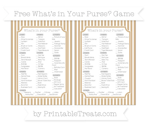 Free Tan Thin Striped Pattern What's in Your Purse Baby Shower Game