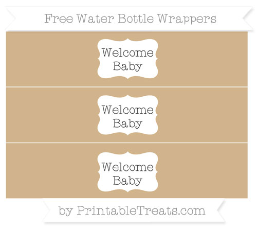 Free Tan Welcome Baby Water Bottle Wrappers