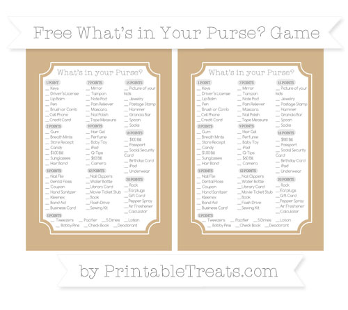 Free Tan What's in Your Purse Baby Shower Game