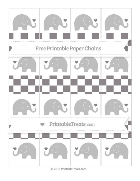Free Taupe Grey Checker Pattern Baby Elephant Paper Chains