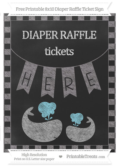 Free Taupe Grey Checker Pattern Chalk Style Baby Whale 8x10 Diaper Raffle Ticket Sign