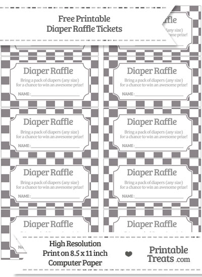 Free Taupe Grey Checker Pattern Diaper Raffle Tickets