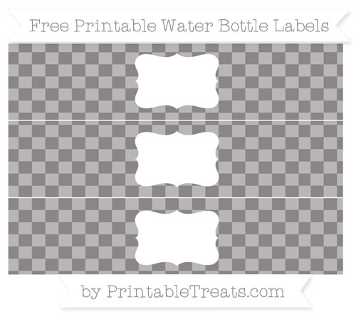 Free Taupe Grey Checker Pattern Water Bottle Labels