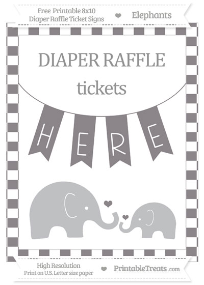Free Taupe Grey Checker Pattern Elephant 8x10 Diaper Raffle Ticket Sign