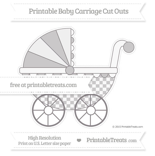 Free Taupe Grey Checker Pattern Extra Large Baby Carriage Cut Outs