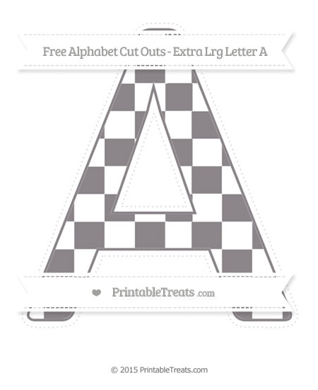 Free Taupe Grey Checker Pattern Extra Large Capital Letter A Cut Outs