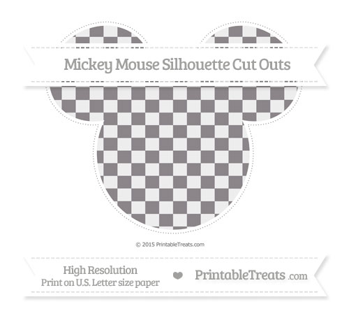Free Taupe Grey Checker Pattern Extra Large Mickey Mouse Silhouette Cut Outs