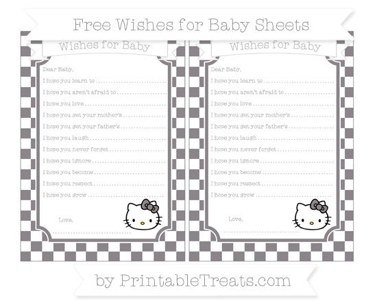 Free Taupe Grey Checker Pattern Hello Kitty Wishes for Baby Sheets