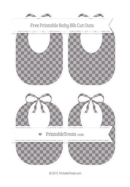 Free Taupe Grey Checker Pattern Medium Baby Bib Cut Outs