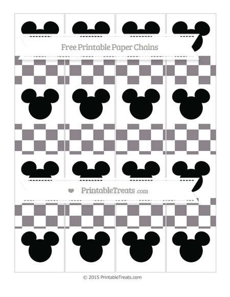 Free Taupe Grey Checker Pattern Mickey Mouse Paper Chains
