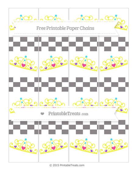 Free Taupe Grey Checker Pattern Princess Tiara Paper Chains