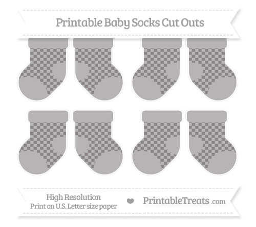 Free Taupe Grey Checker Pattern Small Baby Socks Cut Outs