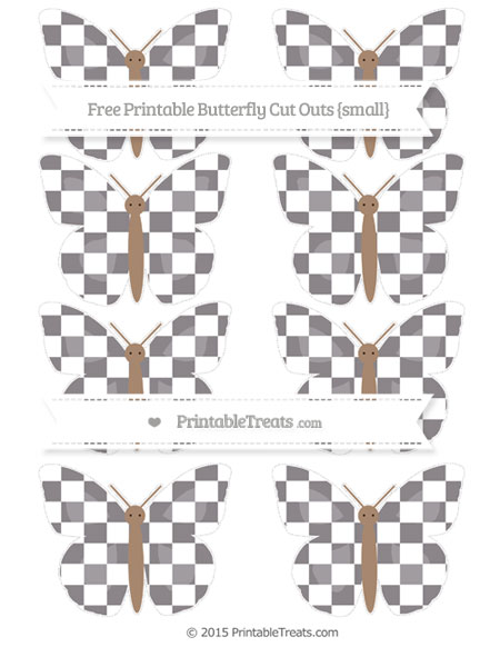 Free Taupe Grey Checker Pattern Small Butterfly Cut Outs