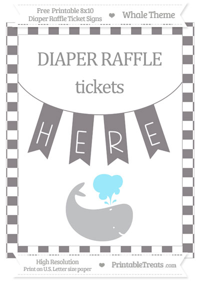 Free Taupe Grey Checker Pattern Whale 8x10 Diaper Raffle Ticket Sign