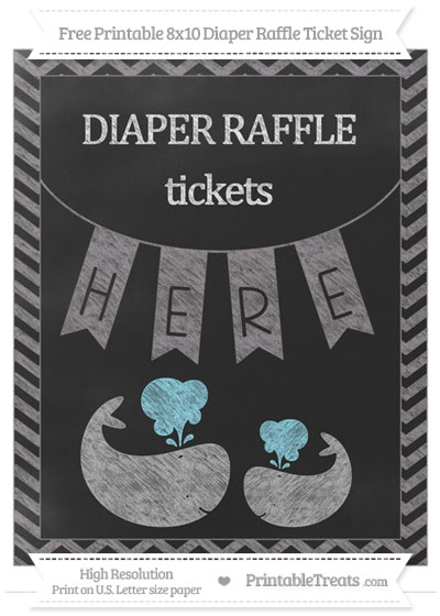 Free Taupe Grey Chevron Chalk Style Baby Whale 8x10 Diaper Raffle Ticket Sign