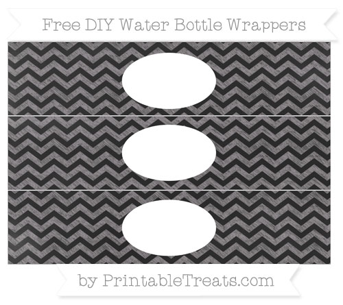 Free Taupe Grey Chevron Chalk Style DIY Water Bottle Wrappers