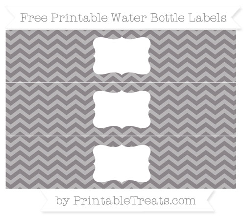 Free Taupe Grey Chevron Water Bottle Labels