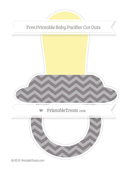 Free Taupe Grey Chevron Extra Large Baby Pacifier Cut Outs