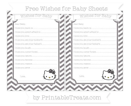 Free Taupe Grey Chevron Hello Kitty Wishes for Baby Sheets