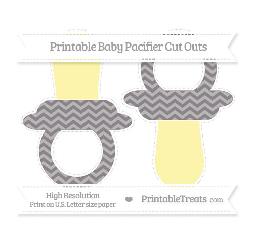 Free Taupe Grey Chevron Large Baby Pacifier Cut Outs