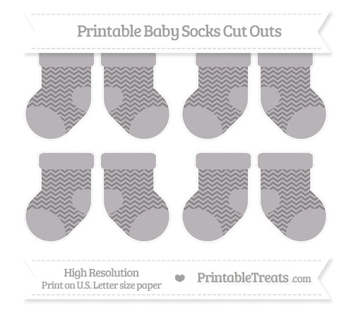 Free Taupe Grey Chevron Small Baby Socks Cut Outs