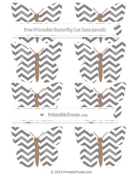 Free Taupe Grey Chevron Small Butterfly Cut Outs