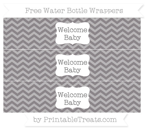 Free Taupe Grey Chevron Welcome Baby Water Bottle Wrappers