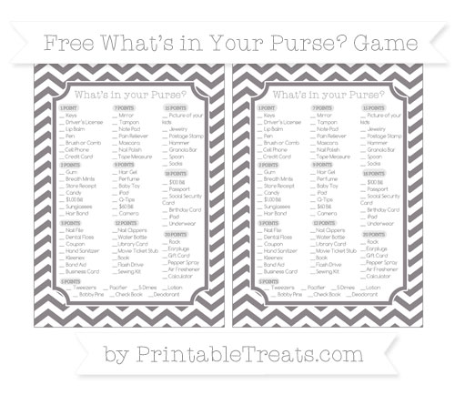 Free Taupe Grey Chevron What's in Your Purse Baby Shower Game