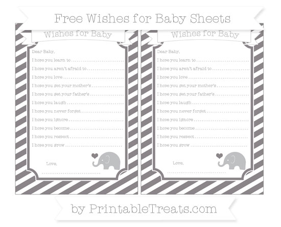 Free Taupe Grey Diagonal Striped Baby Elephant Wishes for Baby Sheets