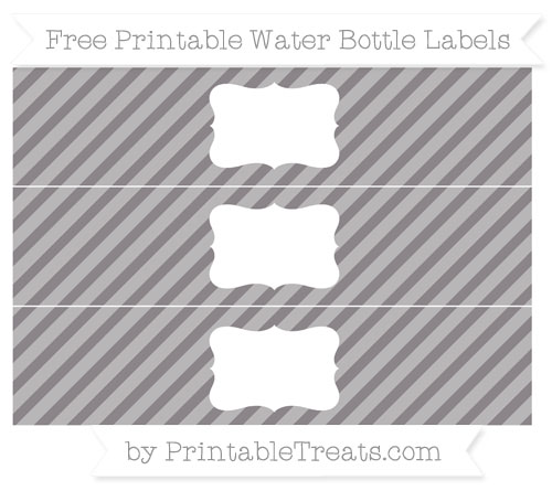 Free Taupe Grey Diagonal Striped Water Bottle Labels