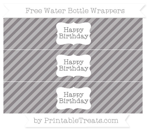 Free Taupe Grey Diagonal Striped Happy Birhtday Water Bottle Wrappers