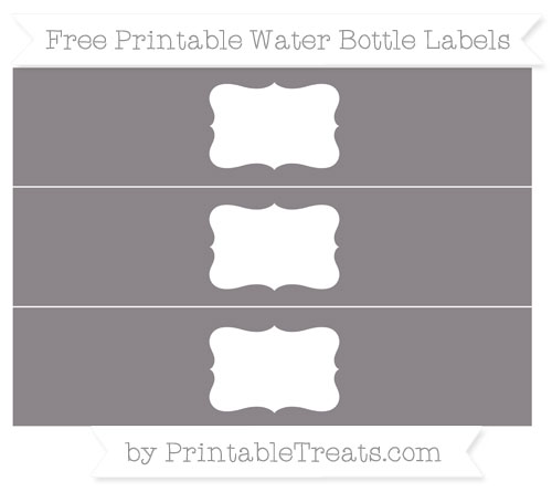 Free Taupe Grey Water Bottle Labels