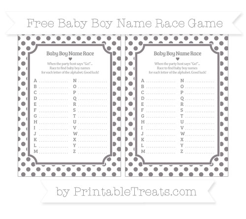 Free Taupe Grey Dotted Pattern Baby Boy Name Race Game