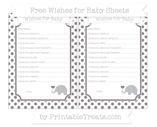 Free Taupe Grey Dotted Pattern Baby Elephant Wishes for Baby Sheets