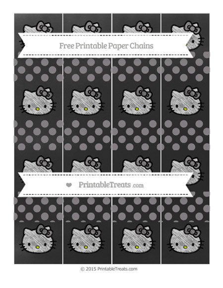 Free Taupe Grey Dotted Pattern Chalk Style Hello Kitty Paper Chains