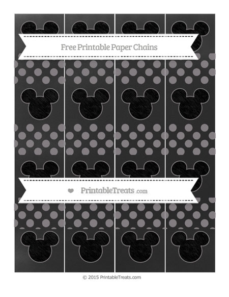 Free Taupe Grey Dotted Pattern Chalk Style Mickey Mouse Paper Chains