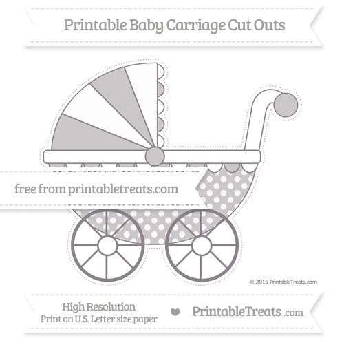 Free Taupe Grey Dotted Pattern Extra Large Baby Carriage Cut Outs