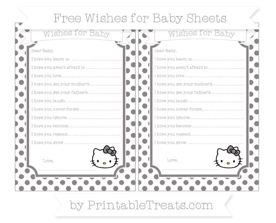 Free Taupe Grey Dotted Pattern Hello Kitty Wishes for Baby Sheets