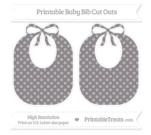 Free Taupe Grey Dotted Pattern Large Baby Bib Cut Outs