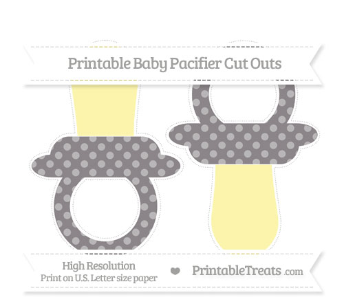 Free Taupe Grey Dotted Pattern Large Baby Pacifier Cut Outs