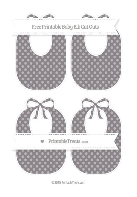 Free Taupe Grey Dotted Pattern Medium Baby Bib Cut Outs