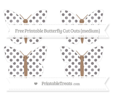 Free Taupe Grey Dotted Pattern Medium Butterfly Cut Outs