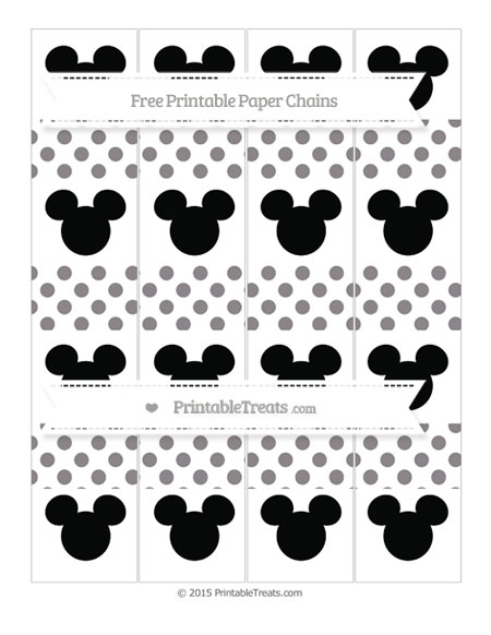 Free Taupe Grey Dotted Pattern Mickey Mouse Paper Chains