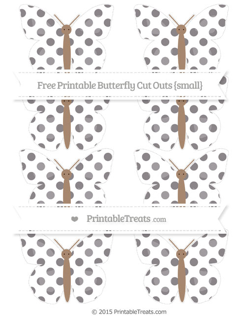 Free Taupe Grey Dotted Pattern Small Butterfly Cut Outs