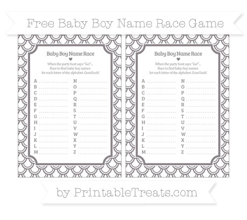 Free Taupe Grey Fish Scale Pattern Baby Boy Name Race Game