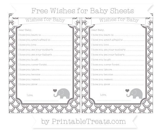 Free Taupe Grey Fish Scale Pattern Baby Elephant Wishes for Baby Sheets