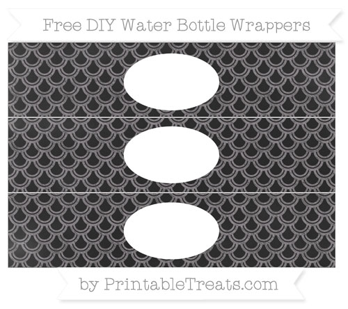 Free Taupe Grey Fish Scale Pattern Chalk Style DIY Water Bottle Wrappers